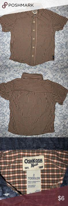 Baby Boy Plaid Shirt Adorable baby Boy Plaid shirt. Gently used, not new. Size: 2T Make a kids clothes bundle and make me an offer!!!! OshKosh B'gosh Shirts & Tops Button Down Shirts