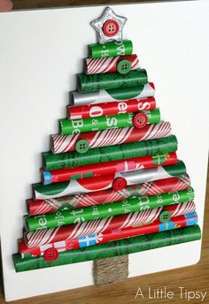 Wrapping Paper Tree {Christmas Crafts} Instead of tossing out the odd size pieces of wrapping paper, use them to create this cute wrapping paper Christmas tree crafts. Creative Christmas Trees, Christmas Tree Crafts, Christmas Door Decorations, Noel Christmas, Christmas Traditions, Holiday Crafts, Christmas Ornaments, Christmas Paper, Christmas Wrapping