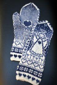 Näyttää muodostuvan tavaksi kutoa joka talvi ainakin yhdet enkelilapaset. Olen yrittänyt etsiä sellaista sinistä lankaa, jolla saisi mukav... Fair Isle Knitting, Knitting Socks, Knit Art, Plastic Canvas, Knitting Patterns, Gloves, Cross Stitch, Crochet, Inspiration