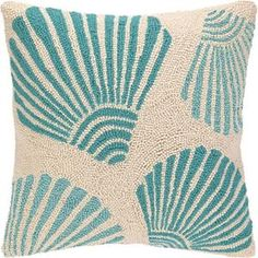 18inch Square Turquoise Scallop Shells On Beige Hook Pillow