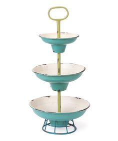 Love this Mint Boathouse Three-Tier Server on #zulily! #zulilyfinds  Wonder if there's a way to DIY this?