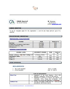 resume career objective Example Template of an Experienced Chartered Accountant Resume . Career Objectives For Resume, Resume Format For Freshers, Resume Objective Sample, Resume Objective Statement, Best Cv Template, Sample Resume Templates, Job Resume, Best Resume, Resume Format Download