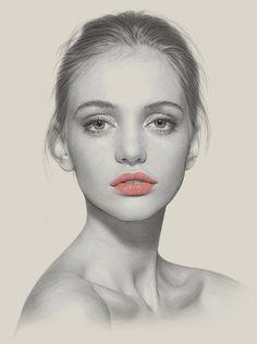 """Nostalgia"" - Kei Meguro (Tokyo born artist), charcoal, pencil, photoshop {contemporary figurative art female head woman face portrait drawing} keimeguro.com"
