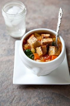 Vegetable soup with garlicky croutons from Annie's Eats