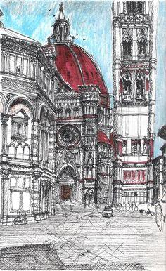 Campanario de Giotto visto desde la plaza del Duomo, en Florencia.-Toscana, Italia.