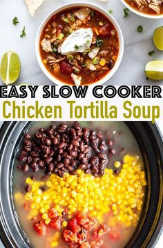 Easy Slow Cooker Chicken Tortilla Soup - Do you need a quick veggie and protein packed dinner? Try this quick and Easy Slow Cooker Chicken Tortilla Soup for a fast, healthy meal. This gluten-free soup Authentic Chicken Tortilla Soup, Healthy Chicken Tortilla Soup, Healthy Crockpot Recipes, Fast Crockpot Meals, Chicken Taco Soup, Fast Healthy Meals, Healthy Eating, Slow Cooker Tortilla Soup, Slow Cooker Chicken