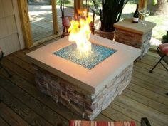 Square Fire Pit Glass Rock Deck Fire Pit, Easy Fire Pit, Large Fire Pit, Fire Pit Seating, Fire Pit Backyard, Seating Areas, Backyard Retreat, Fire Pit Glass Rocks, Fire Pit With Rocks