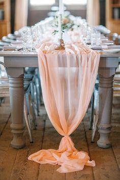 Peach chiffon table runner :: A Romantic Spring Wedding at Terrain at Styers :: Heart & Dash :: Svetlana Photography