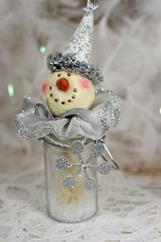 Glass Bottle Jar Snowman Bristle Brush Tree by CottonRidgeEmporium
