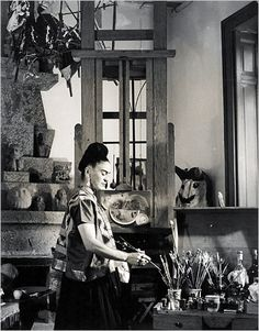 Frida Kahlo in her studio at Casa Azul.    By this point, Kahlo had been painting for only four years. She started while recuperating from a near-fatal streetcar accident that crushed her spine and pelvis, leaving her permanently crippled and unable to bear children. Possibly to minimize the physical evidence of the damage, she began wearing the indigenous Mexican skirts and shawls that transformed her into a piece of multicultural theater.