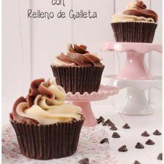 Cupcakes Bicolor con Relleno de Galleta