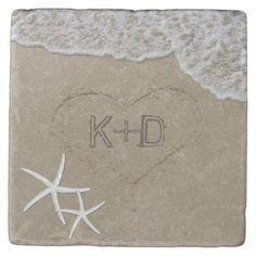 Heart in the Sand Starfish Summer Beach Wedding Stone Coaster