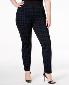 f2df51fb4bc Alfani Plus Size Printed Hollywood Skinny Pants