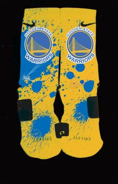 Golden+State+Warriors+Inspired+Custom+Nike+Elite+Socks Each+pair+is+custom+created+when+you+order.+There+are+minor+flaws+in+each+creation+--+no+two+socks+are+the+same. These+are+authentic+Nike+Elite+socks+for+sale.+The+design+on+the+sock+was+not+created Nike Free Shoes, Nike Shoes Outlet, Running Shoes Nike, Uggs Outlet, Nike Elite Socks, Nike Socks, Sport Socks, Nike Store, Nike Basketball Socks
