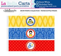 Snow White Personalised water bottle wrappers, Snow White Birthday, Printable Party, DIY Party, Girls Printable Party.