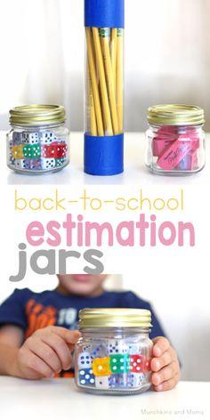 School Supply Estimation Jars - Munchkins and Moms Math Activities For Kids, Math For Kids, Teaching Math, Preschool Activities, Educational Activities, Maths Fun, Prek Literacy, Teaching Tools, Early Math
