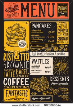 Waffles and crepes restaurant menu. Vector pancake food flyer for bar and cafe. Design template with vintage hand-drawn illustrations. Restaurant Identity, Restaurant Menu Design, Restaurant Concept, Food Menu Design, Food Truck Design, Cafe Design, Design Design, Chalk Menu, Mexican Menu