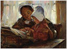 La dentellière de Bruges. Huile sur toile de Annie Rose LAING (écossaise 1869-1946)