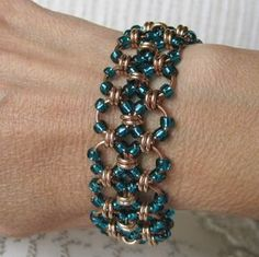 Bronze and Teal Beaded Chainmaille Bracelet - via Etsy. Wire Wrapped Jewelry, Metal Jewelry, Beaded Jewelry, Handmade Jewelry, Beaded Bracelets, Jewelry Patterns, Bracelet Patterns, Jump Ring Jewelry, Chainmaille Bracelet