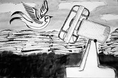 Desenho baseado no poema Evolução, de Mario Quintana. Todas as noites o sono nos atira da beira de um cais e ficamos repousando no fundo do mar. O mar onde tudo recomeça… Onde tudo se refaz… Até que, um dia, nós criaremos asas. E andaremos no ar como se anda em terra.