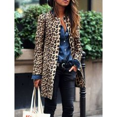 Women Leopard Sexy Winter Warm New Wind Coat Cardigan Leopard Print Fashion Casual Long Coat Plus Size Clothing Coat Fall Fashion Trends, Winter Fashion Outfits, Trendy Fashion, Autumn Fashion, Fashion Fashion, Gold Fashion, Ladies Fashion, Fashion Ideas, Leopard Print Outfits
