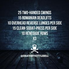 ⚫ Here's a kettlebell workout to challenge yourself with: 25 Two-handed swings 15 Romanian deadlifts 10 Overhead lunges per side 15 Clean-squat-press per side 10 Renegade rows x3 Always use kettlebells sized appropriate to your strength and fitness level. Be sure to practice form with a skilled kettlebell trainer BEFORE incorporating new movements into your routine. ⚫ DOUBLE TAP IF YOU'RE TRAINING WITH KETTLEBELLS Tag a friend who would love @deathbykettlebell!