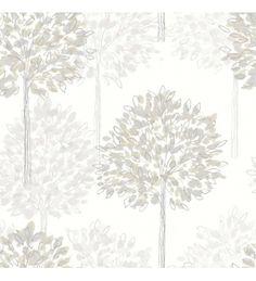 Papel pintado arboles con hojas grises de acuarela fondo claro - 40790