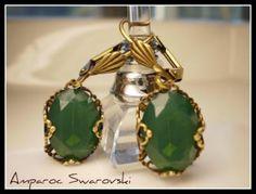 aretes con piedras enchapas color esmeralda