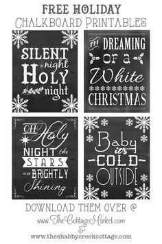 Free Christmas Songs Printable Chalkboard Art #FreePrintableChalkboards, #FreeChristmasChalkboard, #ChalkboardArtPrintableFree
