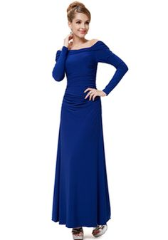 Graceful Ankle Length Chiffon Off the Shoulder A line Long Sleeves Evening Dress - 1300305956B - US$249.99 - BellasDress