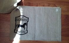 Check out this item in my Etsy shop https://www.etsy.com/listing/448641360/vintage-black-horse-tavern-pure-linen