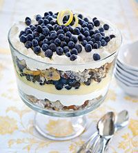 Blueberry Muffin Trifle - What a neat idea using blueberry muffins. What a beautiful trifle!
