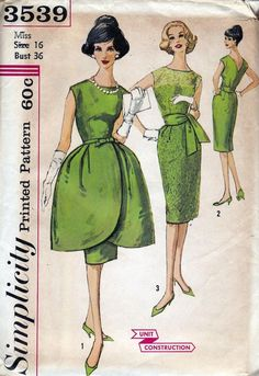 60s Vintage Sewing Pattern Bust 36 Sheath Dress with Petal shaped overskirt Simplicity 3539