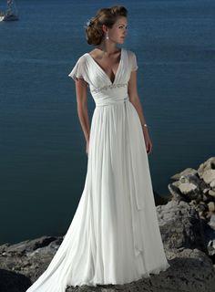 Wedding Dresses Pictures - A-Line V-Neck Cap Sleeve Non-Strapless Tank Chiffon Elastic Silk-like Satin Wedding Dress - Style WD5819