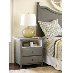 gray bedroom furniture, shelf and two drawer nightstand - interiors-designed.com