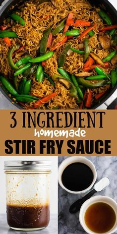 The BEST stir fry sauce!!! 3 ingredient homemade stir fry sauce recipe. The easiest fool proof sauce that's ready in seconds. Perfect for thick stir fry sauce in less than 5 minutes! Stir Fry Recipes, Sauce Recipes, Cooking Recipes, Oven Recipes, Recipies, Homemade Stir Fry Sauce, Homemade Seasonings, Easy Dinner Recipes, Easy Meals