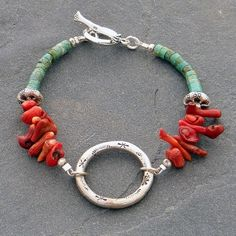 Stamped Sterling Coral and Turquoise Bracelet