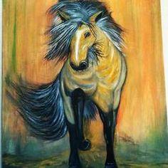 Horse Paintings: Buy Horse Paintings Online Created by Top Indian Artist Artwork Online, Online Painting, Wildlife Paintings, Horse Paintings, Indian Artist, Moose Art, Horses, Painting Canvas, Handmade