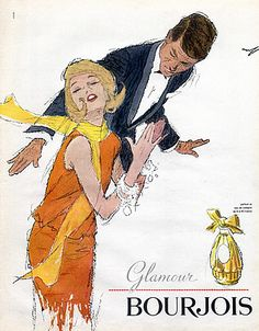 Advertising of Bourjois Glamor perfume Vintage Glam, Vintage Beauty, Vintage Ads, Vintage Prints, French Vintage, Vintage Posters, Jacques Fath, Christian Dior, Retro Advertising