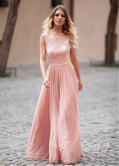 >> Click to Buy << Elegant Coral Long A-line Lace Chiffon Evening Dresses 2016 Sleeveless Floor Length Women Simple Formal Evening Party Dresses #Affiliate
