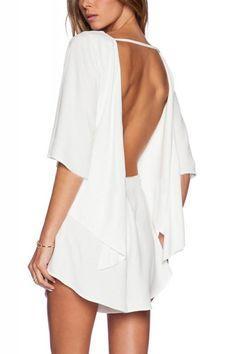 White Backless Half Sleeve Drawstring Romper
