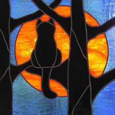 Stained Glass Black Cat Full Hunter's Moon par LivingGlassArt, $150,00