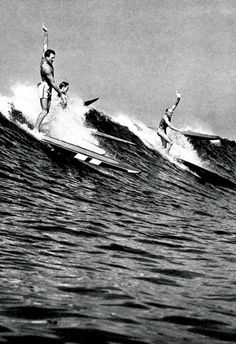Vintage Surfing Poster, Catching Waves, Surfers, Hawaii 1930's, Longboards