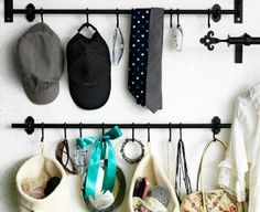 Hats, ties, bags and baskets hung on FINTORP rails and hooks | Could I do this inside my closet to the left of my closet door?
