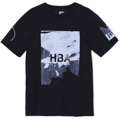 Hba  Hood By Air Short Sleeve T-Shirt ($170) ❤ liked on Polyvore featuring men's fashion, men's clothing, men's shirts, men's t-shirts, black, mens print shirts, mens patterned t shirts, mens jersey shirts, mens leopard print t shirt and mens patterned shirts