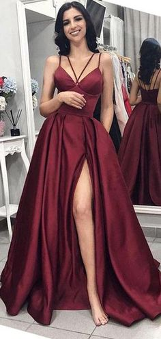 226849894f Maroon Spaghetti Straps Side Slit Long Evening Prom Dresses