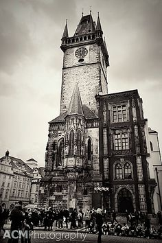 The Astronomical Clock Tower in moody Black and White, Prague, Czech Republic via CheeseWeb