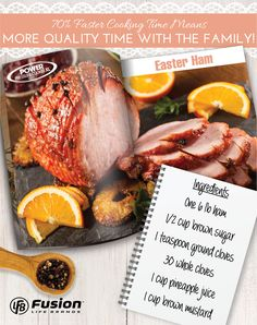 Cooking a delicious ham is so easy in your Power Pressure Cooker XL! Combine all ingredients in a bowl. Add half to your PPCXL, add your ham and pour the rest on top. Cook for one hour. #PressureCooking #Recipes #EasterRecipes