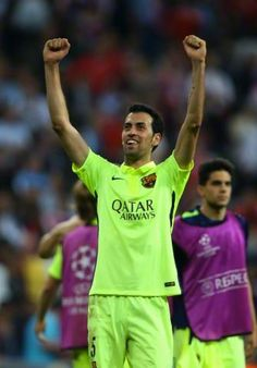 Picture: Busquets celebrating after the game #fcblive [via @forca_fcb] | May 12, 2015. - Aggregate: Barca 5 - 3 FC Barcelona going on to Champions League final.