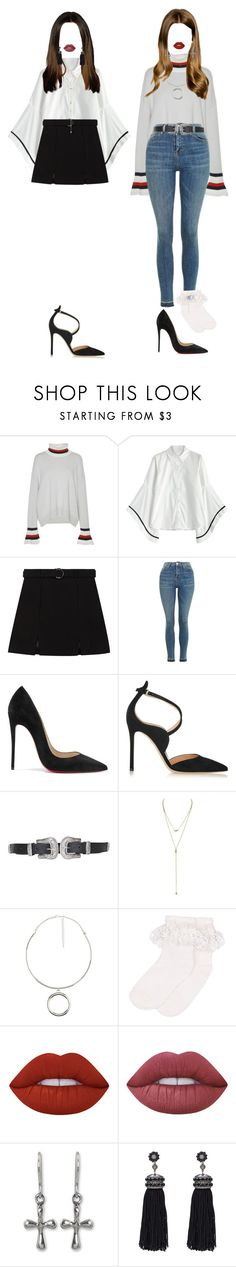 """[ Hello Counselor ] Mika & Hana"" by xxeucliffexx ❤ liked on Polyvore featuring MRZ, Topshop, Christian Louboutin, Gianvito Rossi, Charlotte Russe, Monsoon, Lime Crime, NOVICA, Nush and Hana"
